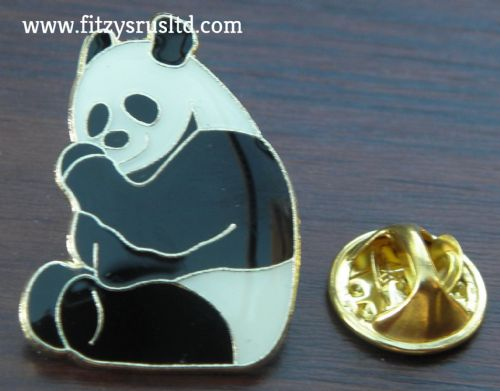 Panda Bear Enamel Lapel Hat Cap Tie Pin Badge / Cute Cuddly Animal Lovers Brooch
